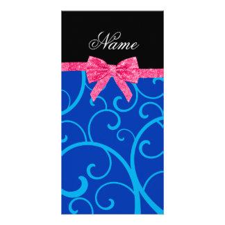 Custom name blue swirls pink glitter bow custom photo card