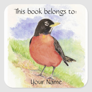 Custom Name, Book Plate Robin  Sticker