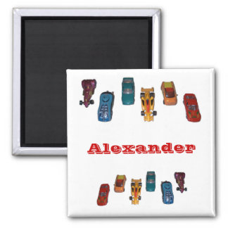 CUSTOM NAME - Boys Race Cars Magnet