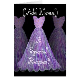 CUSTOM NAME - Bridesmaid VIOLET PURPLE Dress Greeting Card