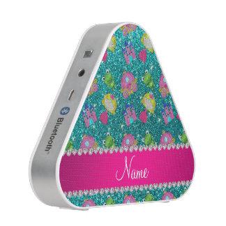 Custom name bright aqua glitter princess frogs speaker