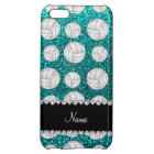 Custom name bright aqua glitter volleyballs case for iPhone 5C
