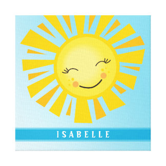 CUSTOM NAME bright bold modern happy sun sunshine Canvas Print