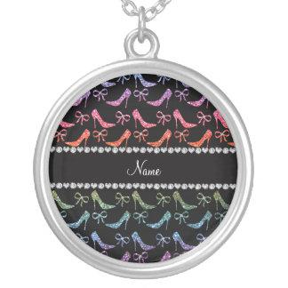 Custom name bright rainbow glitter high heels bow necklace