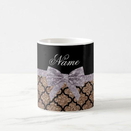 Custom name brown glitter moroccan silver bow coffee mugs