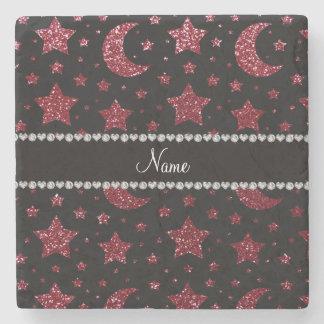 Custom name burgundy glitter stars and moons stone beverage coaster