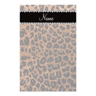 Custom name burnt gold glitter leopard print customized stationery