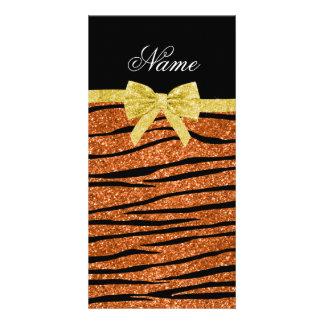 Custom name burnt orange glitter zebra stripes bow photo greeting card