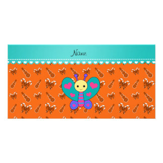 Custom name butterfly orange candy canes snowmen photo cards