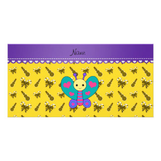 Custom name butterfly yellow candy canes snowmen photo cards