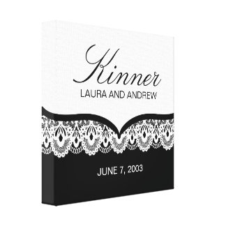 Custom Name Canvas with Lace (black and white) Stretched Canvas Prints