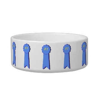Custom Name Cat Dish With 1st Place Blue Ribbons Cat Bowls