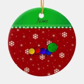 Custom name caterpillar red snowflakes stars ceramic ornament