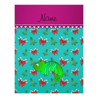 Custom name chameleon turquoise candy canes bows 21.5 cm x 28 cm flyer