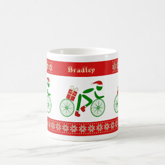 Custom name christmas cyclists coffee mug