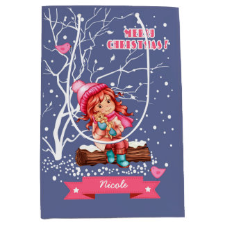 Custom Name Christmas Gift Bags for Kids Medium Gift Bag