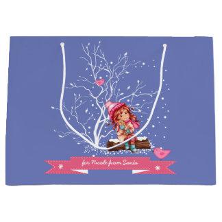 Custom Name Christmas Gift Bags for Kids Large Gift Bag