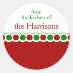 Custom Name Christmas Polka Dot Stickers