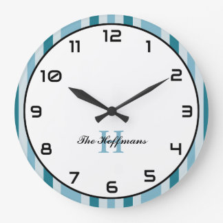 Custom Name Coastal Style Round Wall Clock Stripes