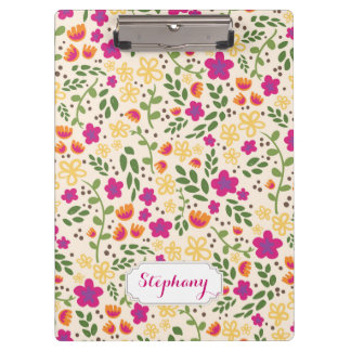 Custom Name Colorful Pretty Floral Clipboard