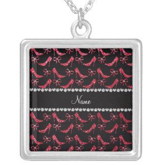 Custom name crimson red glitter high heels bow custom jewelry