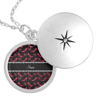 Custom name crimson red glitter high heels bow pendants
