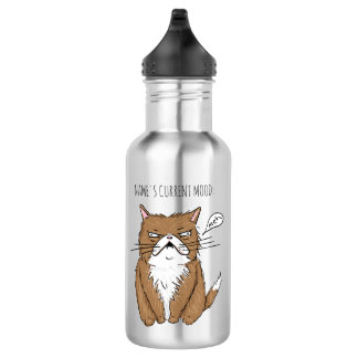 Custom Name Current Mood Meh Funny Cat Bottle