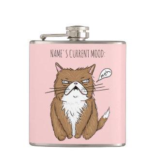 Custom Name Current Mood Meh Funny Cat Flask