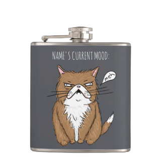 Custom Name Current Mood Meh Funny Cat Gray Flask