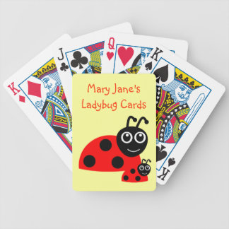 Custom Name Cute Funny Ladybug Bicycle Playing Cards