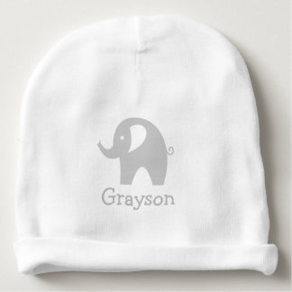 Custom name cute grey elephant baby beanie hat