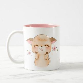 Custom Name Cute Happy Deer Pud Two-Tone Coffee Mug