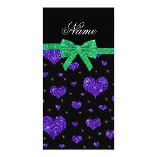 Custom name dark purple glitter hearts green bow picture card