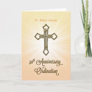 Custom Name, Date, 50th Anniversary of Ordination, Card