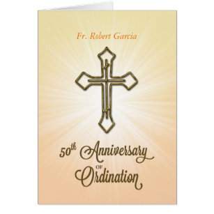 Ordination cards invitations zazzle custom name date 50th anniversary of ordination card stopboris Choice Image