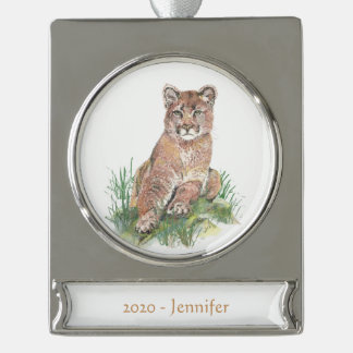 Custom Name date Cougar, Mountain Lion Watercolor Silver Plated Banner Ornament