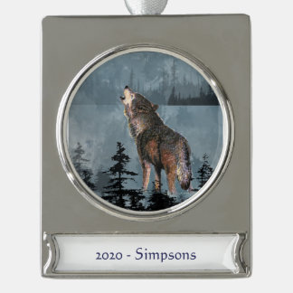 Custom Name date Watercolor Wolf Howling winter Silver Plated Banner Ornament