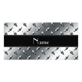 Custom name diamond plate steel black stripe photo greeting card