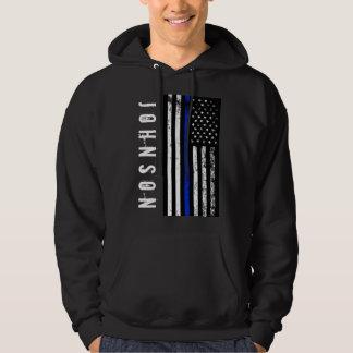 Custom Name Distressed Police Style USA Flag Hoodie