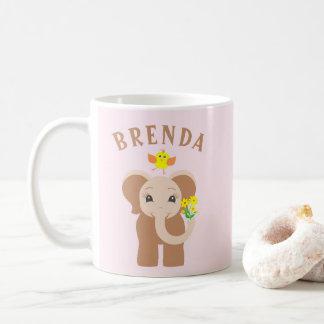 Custom Name Elephant & Bird 11 oz Mug For Kids