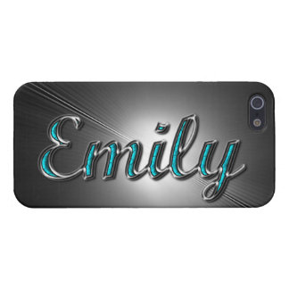 """Custom name""""Emily"""" in Turquoise and Silver Design. Cover For iPhone 5/5S"""