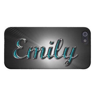 """Custom name""""Emily"""" in Turquoise and Silver Design. iPhone 5 Covers"""
