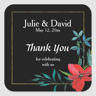 Custom Name Faux Gold Border Wedding Thank You Square Sticker
