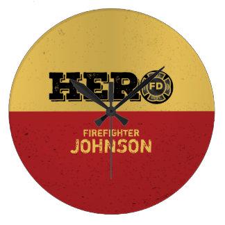 Custom Name, Firefighter Hero Large Clock