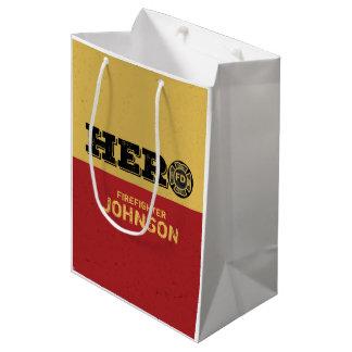 Custom Name, Firefighter Hero Medium Gift Bag
