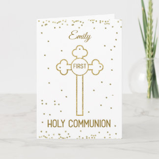 Custom Name First Holy Communion Gold Look Cross Card
