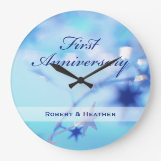 Custom Name, First Wedding Anniversary Sparkle Large Clock