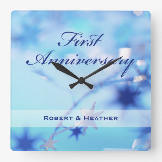 Custom Name, First Wedding Anniversary Sparkle Square Wall Clock