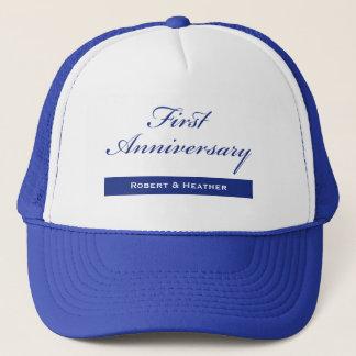 Custom Name, First Wedding Anniversary Sparkle Trucker Hat