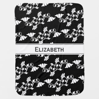 Custom Name Floral Black and White Baby Blanket